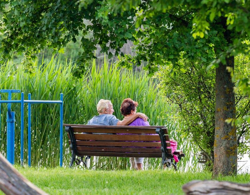 Gl?ckliche ?ltere Paare, die auf Bank im Park sitzen Mann und Frau, die durch den See stillstehen stockbild