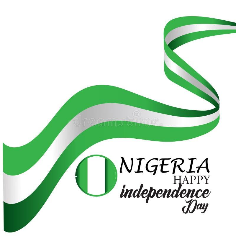 Gl?ckliche Nigeria-Unabh?ngigkeitstag-Vektor-Schablonen-Entwurfs-Illustration lizenzfreie abbildung