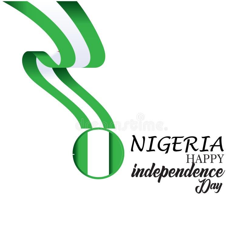 Gl?ckliche Nigeria-Unabh?ngigkeitstag-Vektor-Schablonen-Entwurfs-Illustration stock abbildung