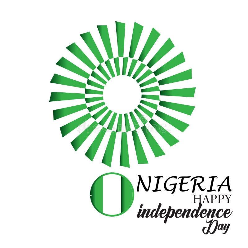 Gl?ckliche Nigeria-Unabh?ngigkeitstag-Vektor-Schablonen-Entwurfs-Illustration vektor abbildung
