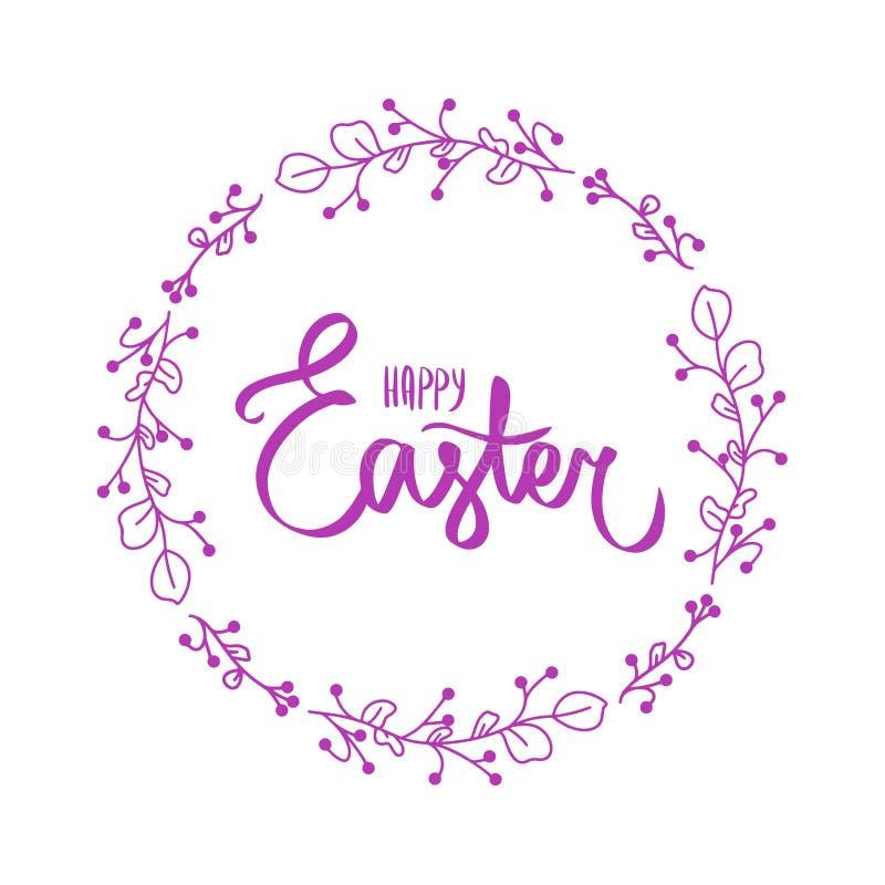 Gl?ckliche Ostern-B?rstenhandbeschriftung auf wei?em Hintergrund Feiertagsgru?karte oder -postkarte Vektorzeichen mit wenig schwa vektor abbildung