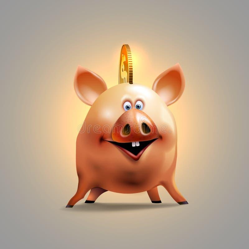 Gl?ckliche Piggy Sparkasse Nettes Sparschwein Geldikonendesign stockbild
