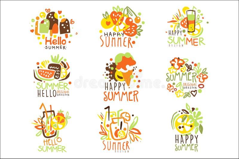 Gl?ckliche Sommer-Ferien Sunny Colorful Graphic Design Template Logo Series, Hand gezeichnete Vektor-Schablonen stock abbildung