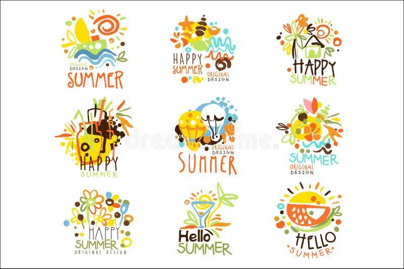 Gl?ckliche Sommer-Ferien Sunny Colorful Graphic Design Template Logo Set, Hand gezeichnete Vektor-Schablonen vektor abbildung