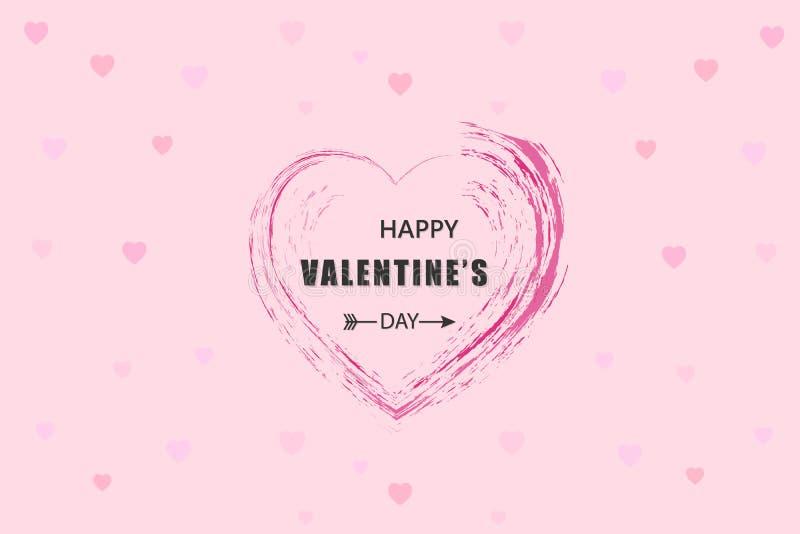 Gl?ckliche Valentinsgru?-Tageskarte, Typografie, Hintergrund mit Herzen lizenzfreie abbildung