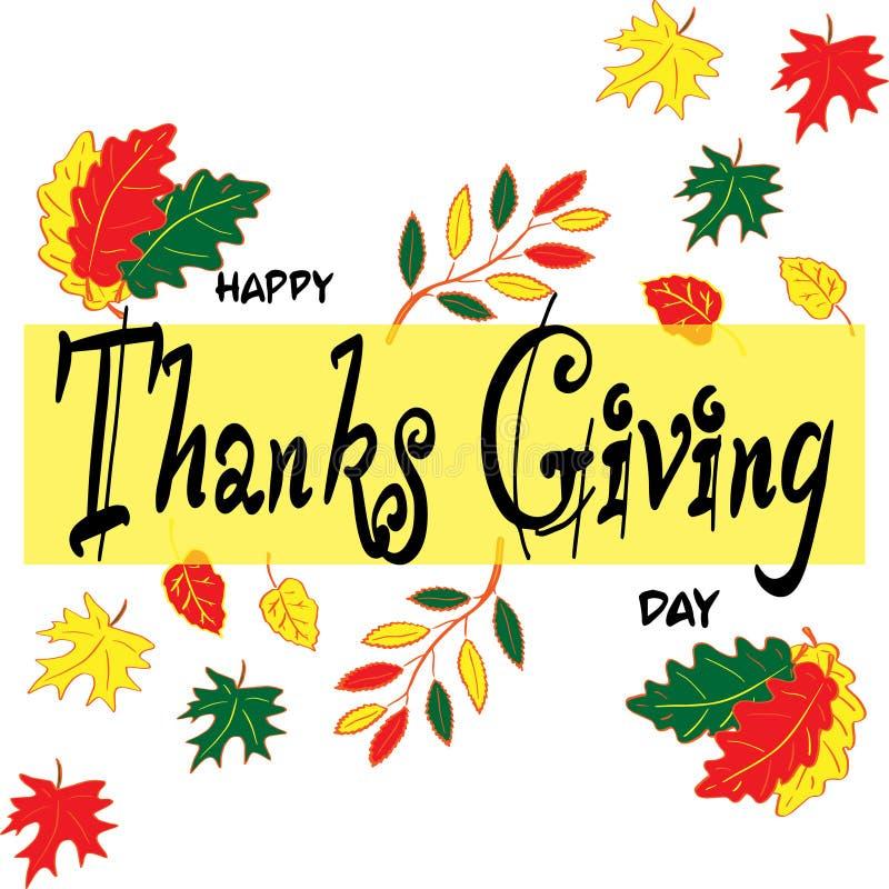 Gl?cklicher Danksagungs-Tag Rot und Orange f?rbt Efeublattnahaufnahme beschriftung Herbstlaub des Ahorns, der Eiche, der Eberesch lizenzfreie abbildung