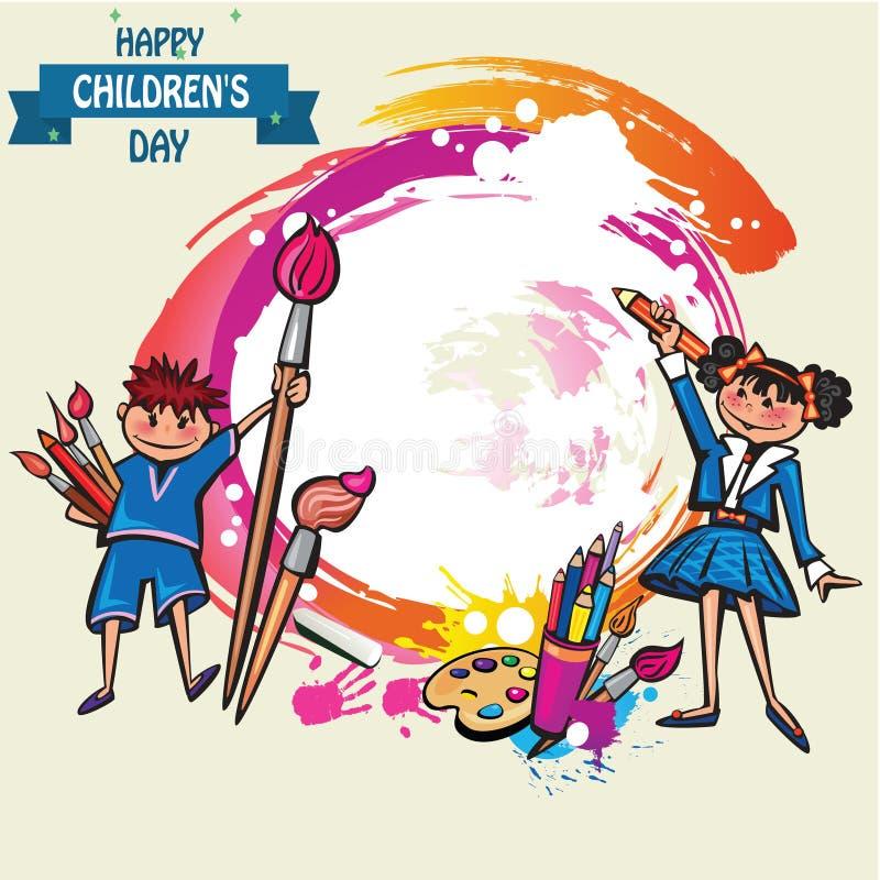 Gl?cklicher Kindertageshintergrund Vektorillustration des Universalkindertagesplakats gl?ckliches neues Jahr 2007 flach Rundes Fe stock abbildung