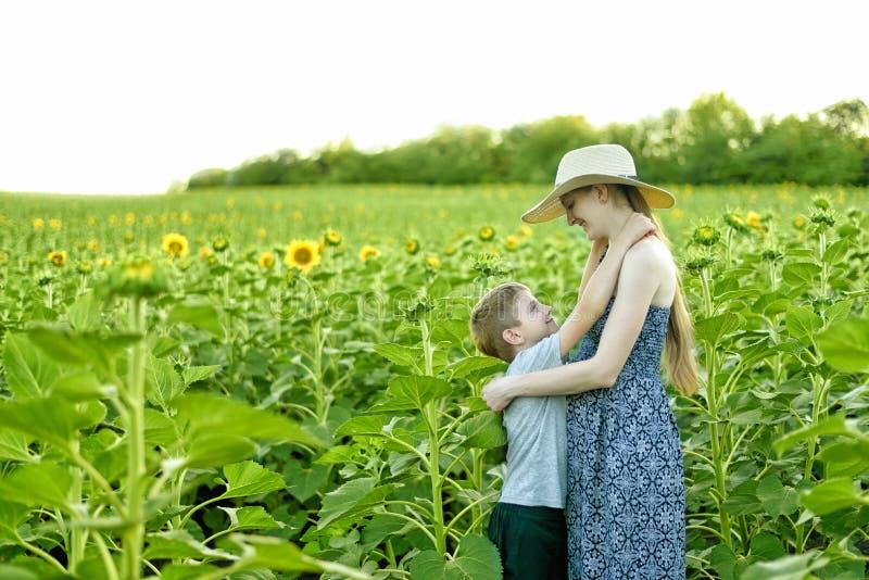 Gl?cklicher kleiner Sohn umfasst schwangere Mutterstellung auf einem Feld von bl?henden Sonnenblumen lizenzfreie stockbilder