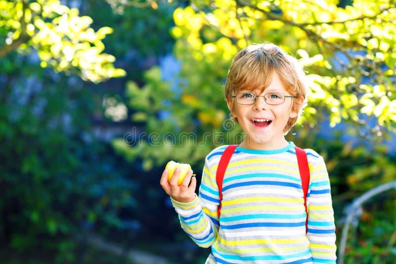 Gl?cklicher kleiner Vorschulkinderjunge mit Gl?sern, B?chern, Apfel und Rucksack an seinem ersten Tag zur Schule oder zur Kindert stockfotos