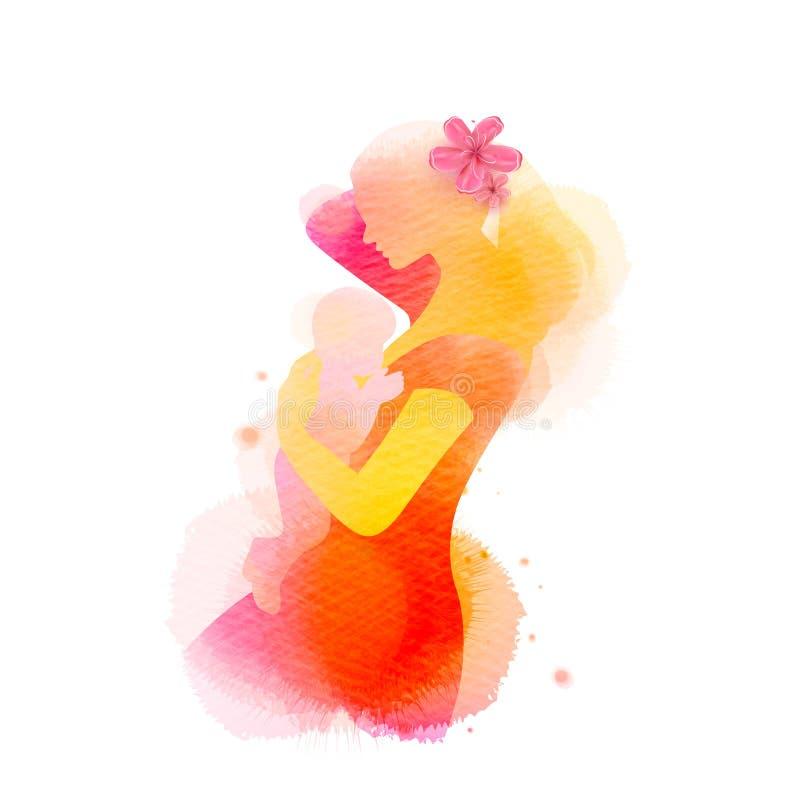 Gl?cklicher Mutter`s Tag Ein schönes neugeborenes Babystillen Seitenansicht der glücklichen Mutter mit Babyschattenbild plus abst lizenzfreie abbildung