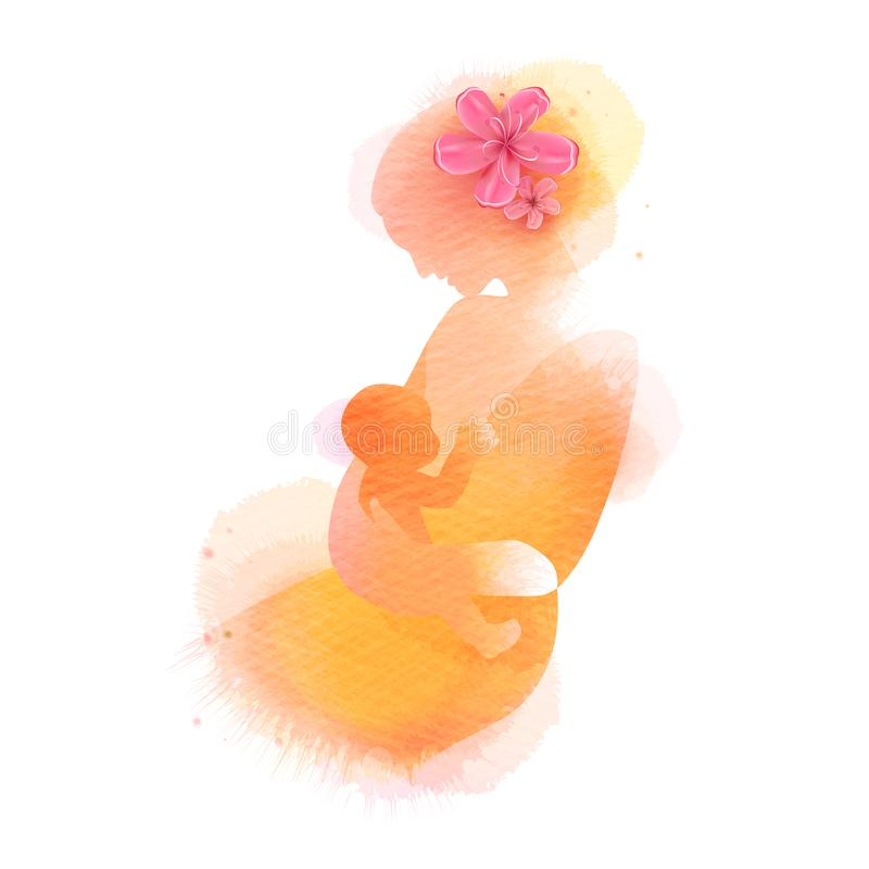 Gl?cklicher Mutter`s Tag Ein schönes neugeborenes Babystillen Seitenansicht der glücklichen Mutter mit Babyschattenbild plus abst vektor abbildung