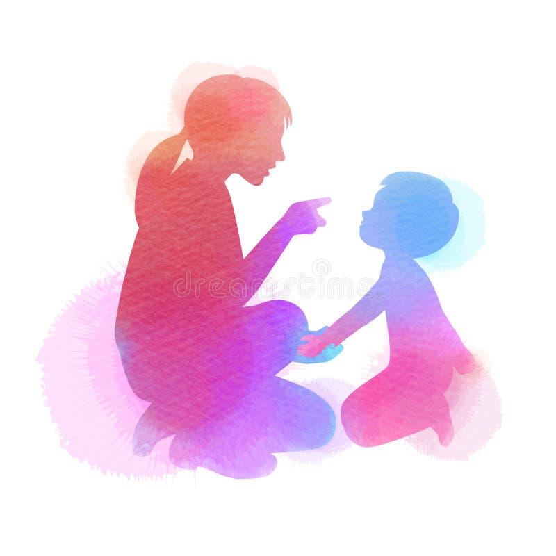 Gl?cklicher Mutter`s Tag Seitenansicht der Schönheit schilt ihren Sohn, Schattenbild plus das abstrakte gemalte Aquarell parentin lizenzfreie abbildung