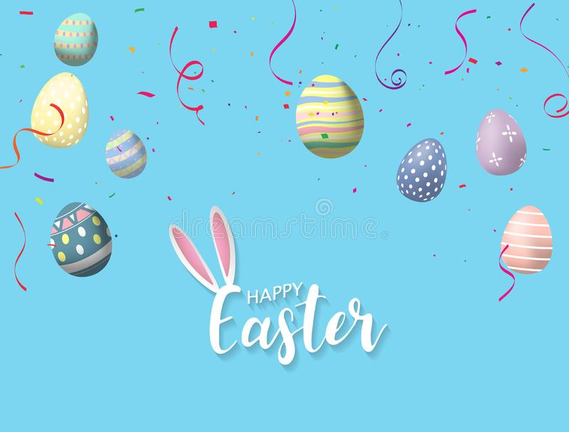 Gl?cklicher Ostern-Hintergrund Auch im corel abgehobenen Betrag Glanz verzierte Eier lizenzfreie abbildung