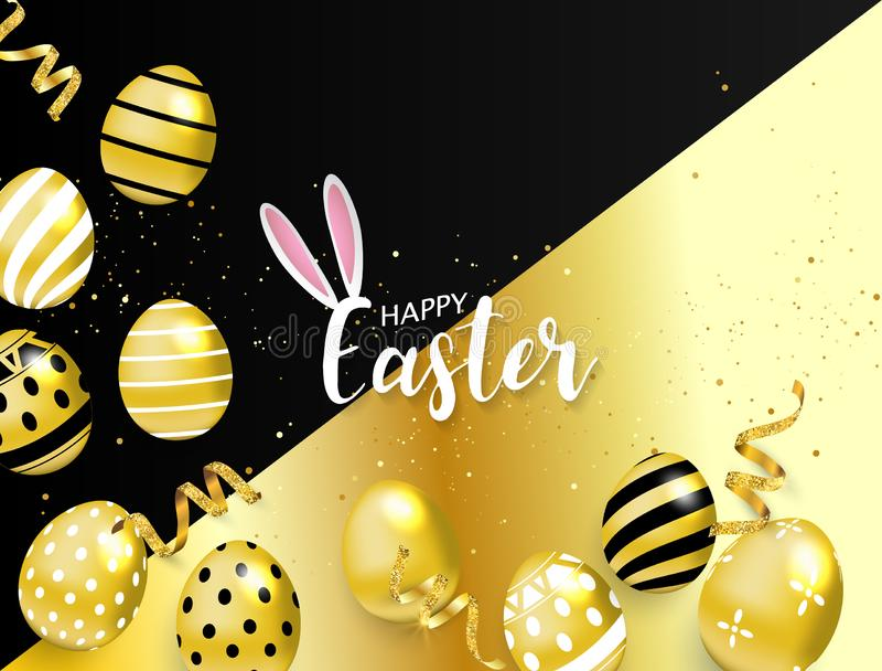 Gl?cklicher Ostern-Hintergrund Auch im corel abgehobenen Betrag goldener Glanz verzierte Eier stock abbildung