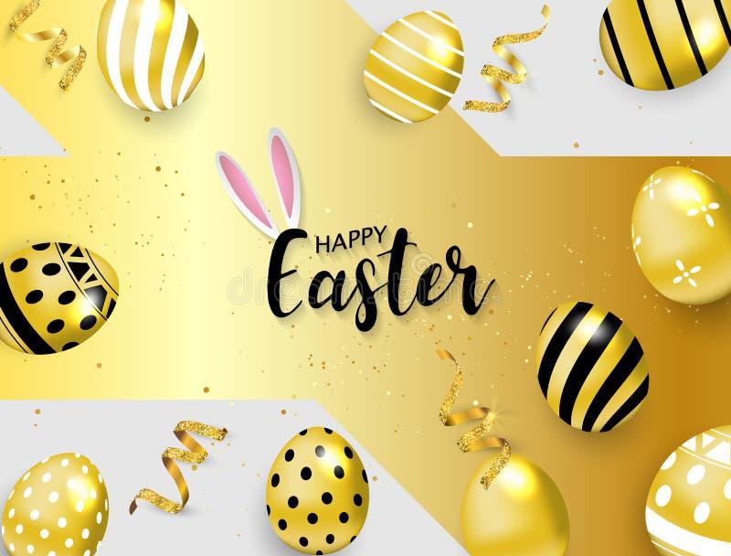 Gl?cklicher Ostern-Hintergrund Auch im corel abgehobenen Betrag goldener Glanz verzierte Eier lizenzfreie abbildung