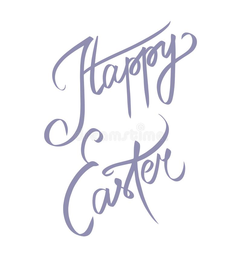 Gl?cklicher Ostern-Text Feiertagsgru?karte oder -postkarte Schablone f?r Einladung Handdrawn gl?ckliches Ostern-Zeichen lokalisie vektor abbildung