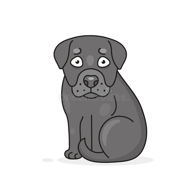 Gl?cklicher sitzender Karikaturwelpe, Portr?t des netten kleinen Hundes Hundefreund Auch im corel abgehobenen Betrag Getrennt lizenzfreie abbildung