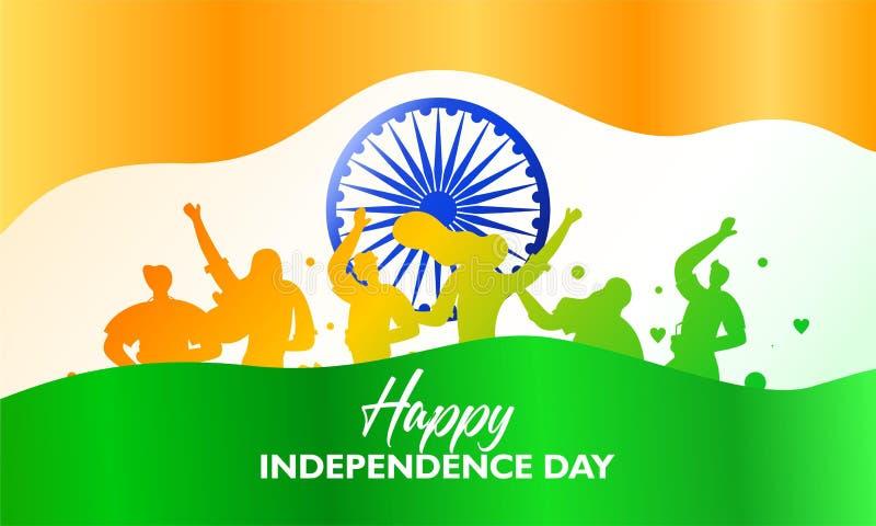 Gl?cklicher Unabh?ngigkeitstag das Flaggenflattern und die indische Gesellschaft ist Partei lizenzfreie abbildung