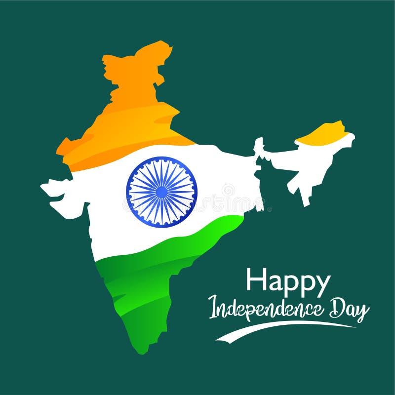 Gl?cklicher Unabh?ngigkeitstag Flagge auf Indien-Karte Für Gruß, Fahne, Plakat auf Social Media-Schablone und andere Auch im core lizenzfreie abbildung