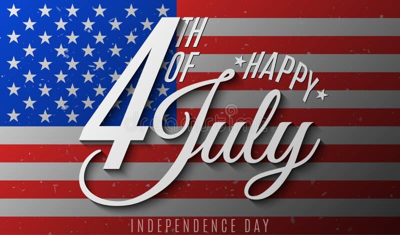 Gl?cklicher Unabh?ngigkeitstag Geschenkeinladungskarte für Juli 4. Textfahne auf USA-Flaggenhintergrund Staaten von Amerika Vekto lizenzfreie abbildung