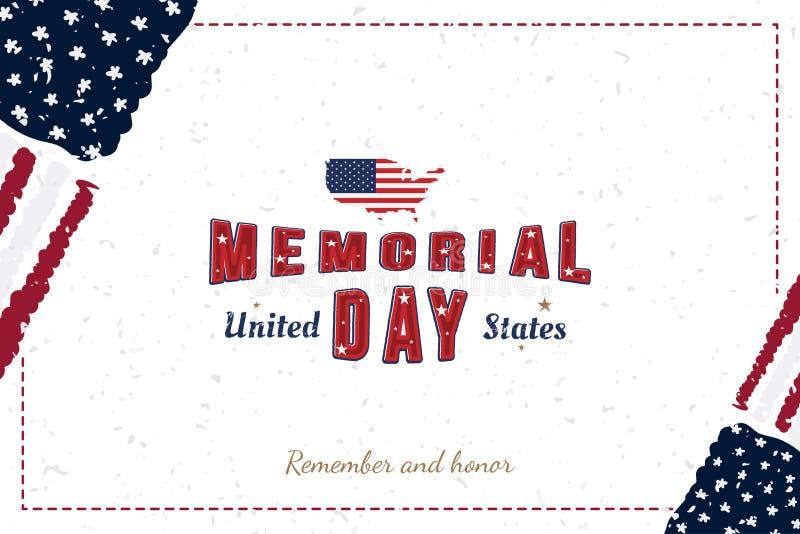 Gl?cklicher Volkstrauertag Gru?karte mit urspr?nglichem Guss und USA zeichnen und Flagge auf Schablone f?r amerikanische Feiertag vektor abbildung