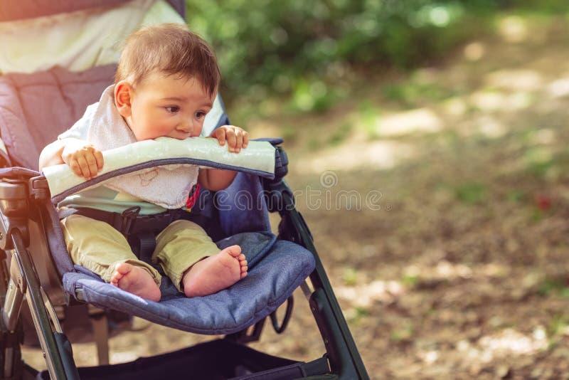 Gl?ckliches Baby, das in einem Spazierg?nger f?r einen Weg sitzt stockfoto
