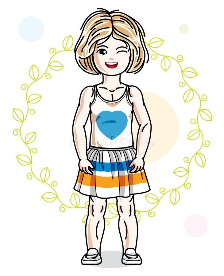 Gl?ckliches kleines blondes M?dchen, das auf Fr?hlingshintergrund mit Gr?nbl?ttern und tragender moderner zuf?lliger Kleidung auf vektor abbildung