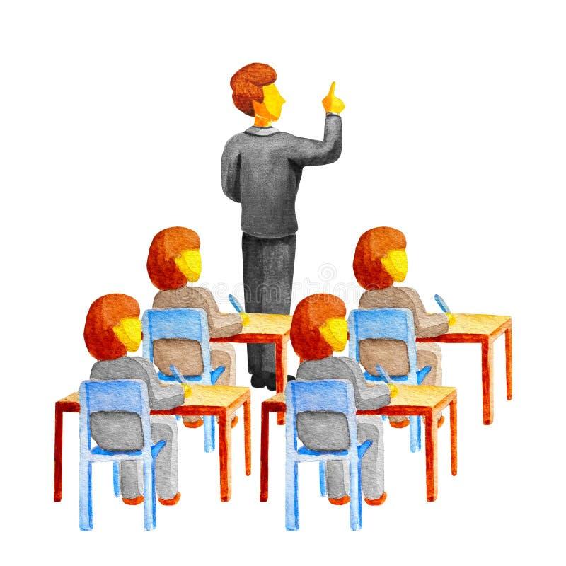 Gl?ckliches Lehrer ` s Tageskonzept Hand gezeichneter Vektor getrennt auf Wei? Ein junger kaukasischer männlicher Lehrer unterric stock abbildung