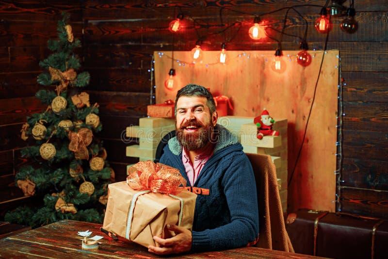 Gl?ckliches neues Jahr Weihnachtsdekoration, Neujahrsgeschenk Parteigesicht stockbilder