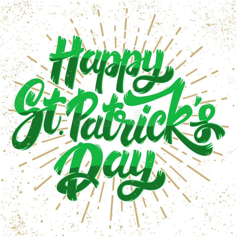 Gl?ckliches St. Patrick Day Beschriftungsphrase Gestaltungselement f?r Plakat, Gru?karte, Fahne vektor abbildung
