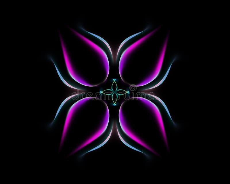 Gl?dande blomma f?r mystiskt felikt neon royaltyfri illustrationer