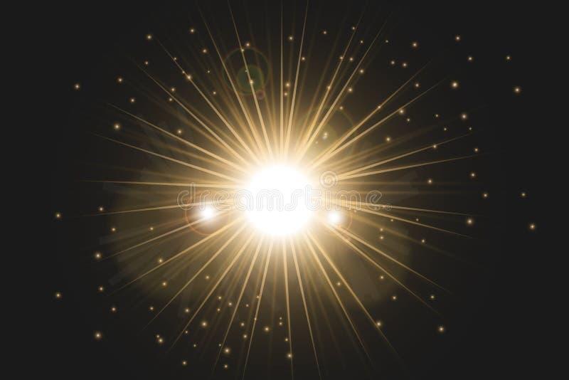 Gl?dande ljus bristningsexplosion f?r vit med genomskinligt royaltyfri illustrationer