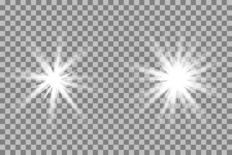 Gl?dande ljus bristningsexplosion f?r vit med genomskinligt vektor illustrationer