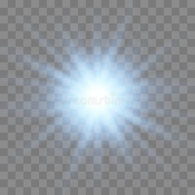 Gl?dande ljus bristningsexplosion f?r vit stock illustrationer