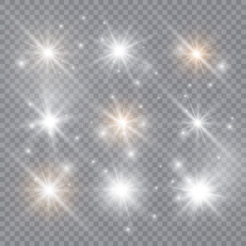 Gl?dande ljus exploderar p? en genomskinlig bakgrund Mousserande magiska dammpartiklar ljus stj?rna ocks? vektor f?r coreldrawill royaltyfri illustrationer