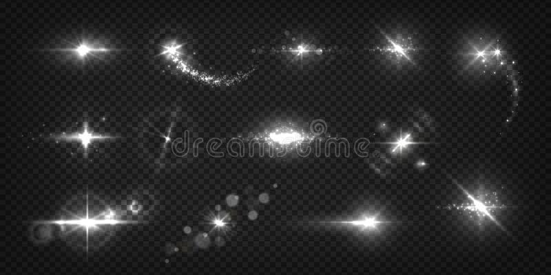 Gl?dande ljusa effekter Realistiska exponeringar och gnistor, stjärnasken och sunburst isolerad genomskinlig uppsättning Skinande stock illustrationer