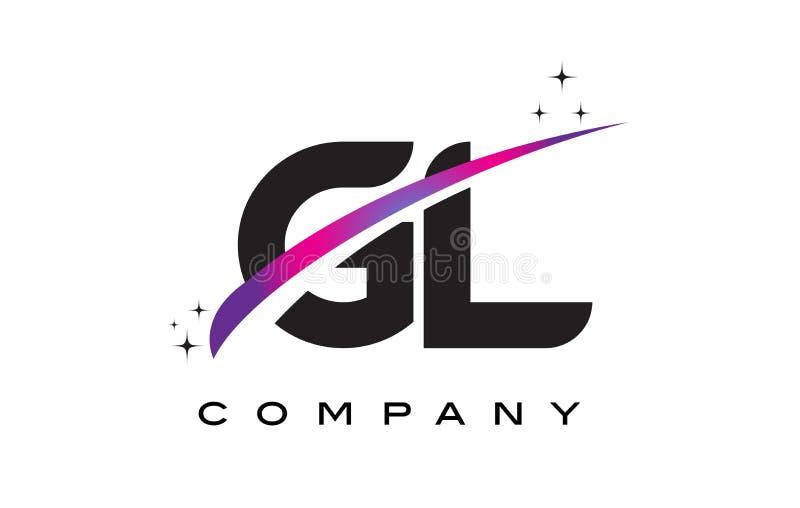 gl g l black letter logo design with purple magenta swoosh stock rh dreamstime com