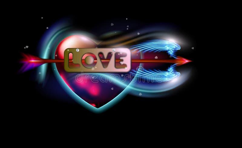 Gl?hender roter Fantasiepfeil der Amor durchbohrten Aufschriftliebe, Herz Amur-Attribut der Valentinsgru?tagesliebe, Metallaufkle vektor abbildung