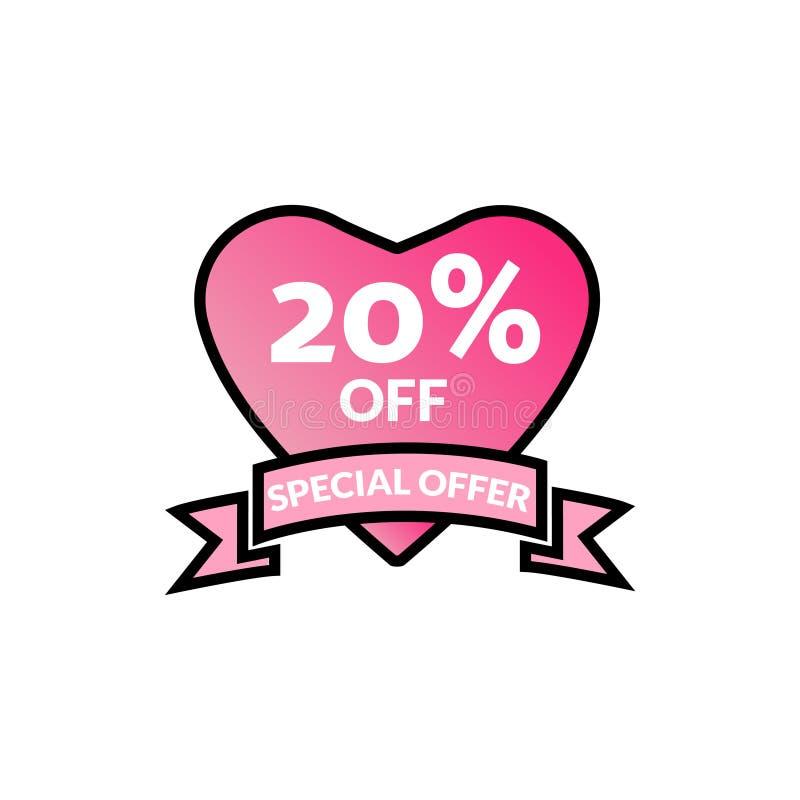 Gl?nzendes Plakat des 20% Rabatt-Angebotrabattf?rderungs-Verkaufs, Fahne, Anzeigen Valentine Day Sale, Feiertagsrabattumbau, Sond stock abbildung