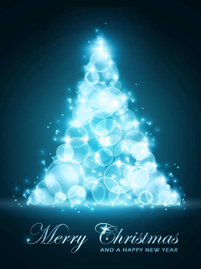glödande tree för blå jul stock illustrationer