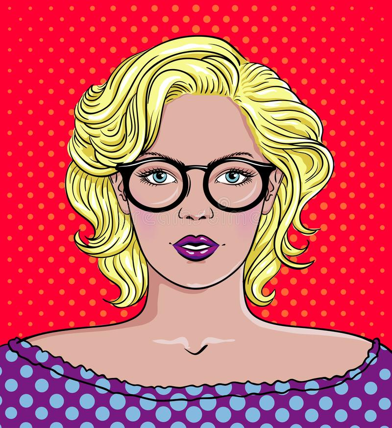Pop art vector illustration of a woman with Glasses. Beautiful woman portrait vector illustration
