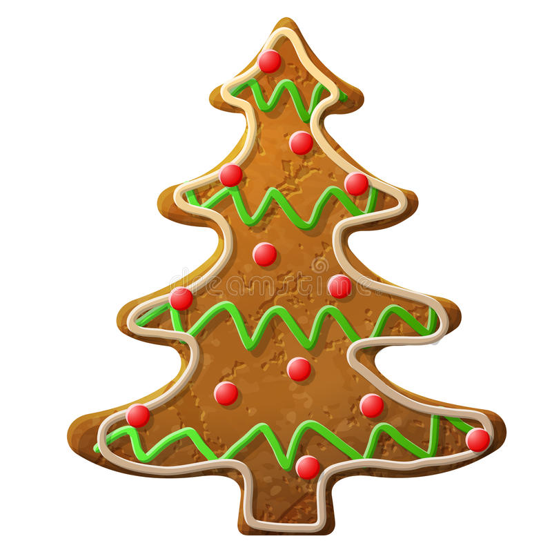 Glaçage coloré décoré d'arbre de Noël de pain d'épice illustration libre de droits