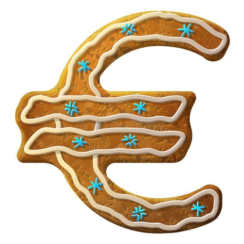 Glaçage coloré décoré par euro de pain d'épice illustration libre de droits