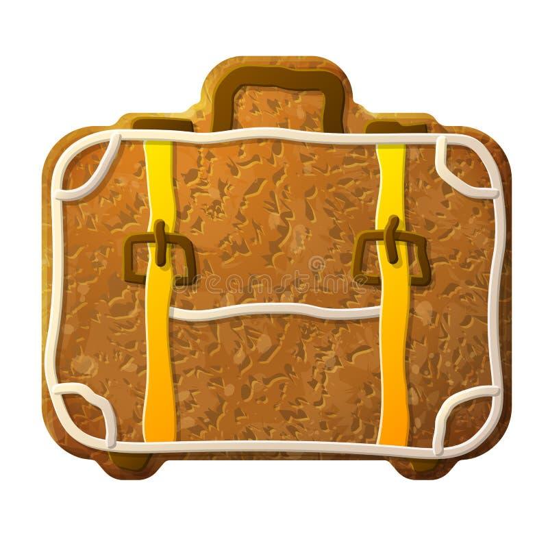 Glaçage coloré décoré par valise de pain d'épice illustration stock