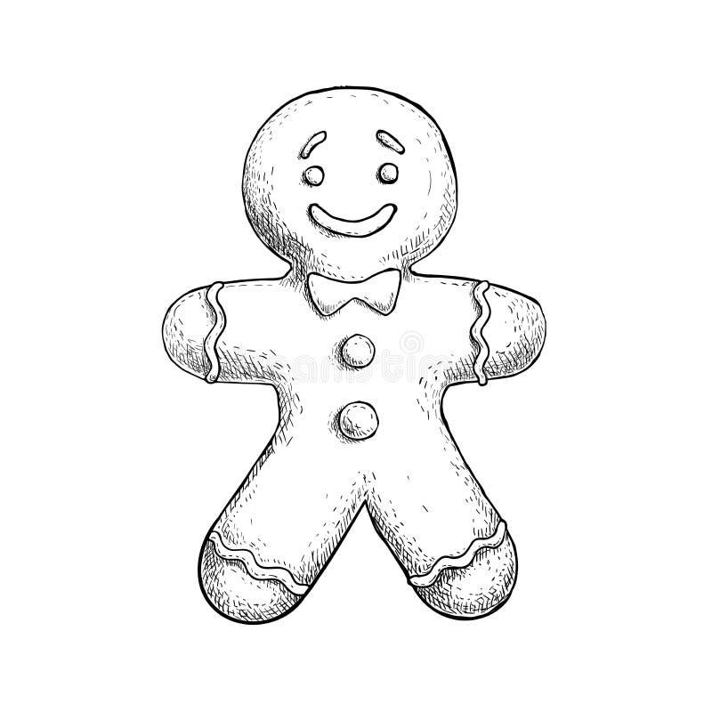 Glaçage tiré par la main de bonhomme en pain d'épice de croquis décoré Biscuit traditionnel de Noël illustration de vecteur