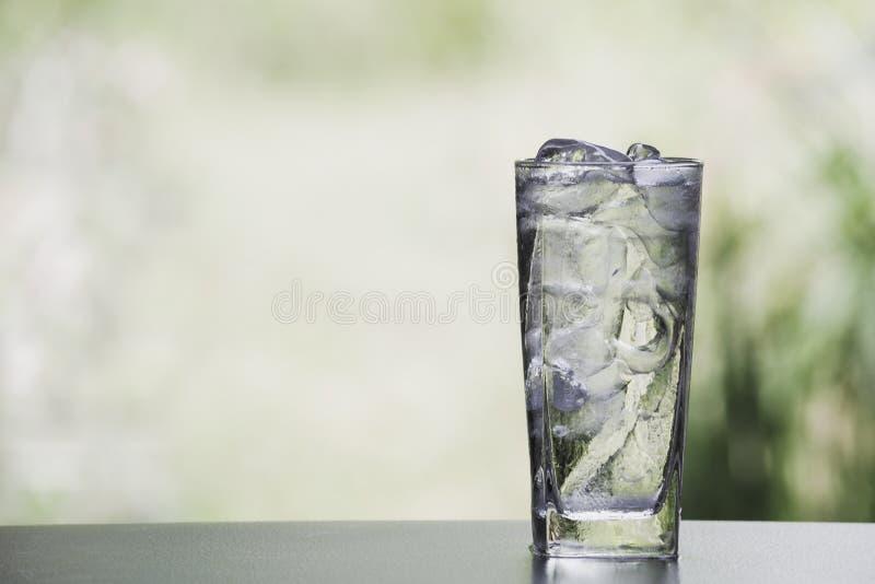 Glaçon et eau dans le verre sur la table avec le fond de nature photographie stock libre de droits