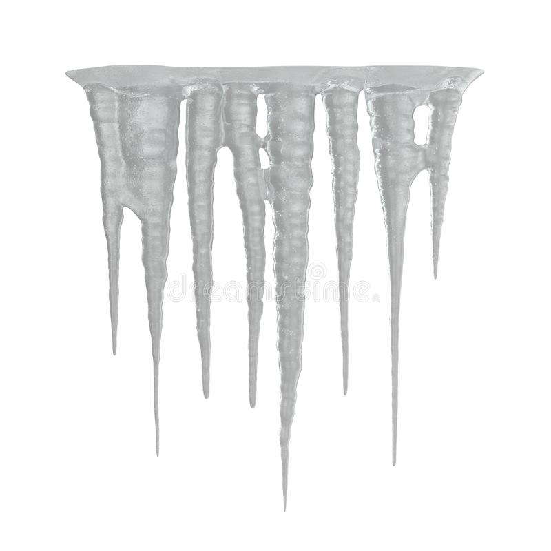 Glaçons de glace sur le fond blanc 3D Illusration, d'isolement illustration stock