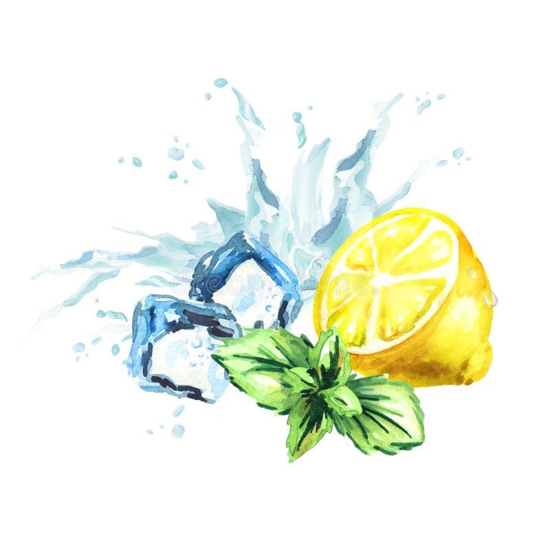 Glaçons, feuilles en bon état, éclaboussure de l'eau et citron d'isolement sur un fond blanc Illustration tirée par la main d'aqu illustration libre de droits