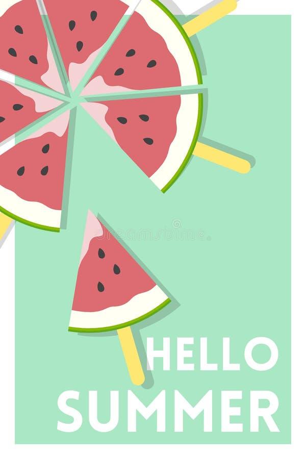 Glace à l'eau de pastèque au-dessus bonjour d'affiche de vert de message d'été illustration libre de droits