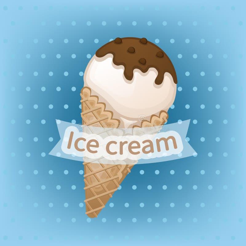 Glace à la vanille avec l'écrimage de chocolat dans un cône de gaufre La crème glacée douce délicieuse avec du chocolat arrose illustration de vecteur